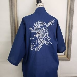 Vintage Daffodil Chinese Embroidered Dragon Robe